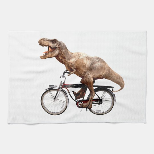 Trex riding bike kitchen towel