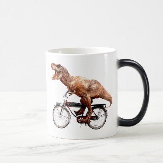 Trex riding bike magic mug