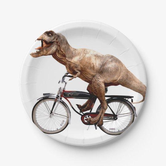 Trex riding bike paper plate