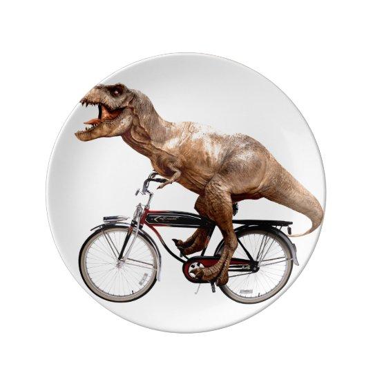 Trex riding bike porcelain plates