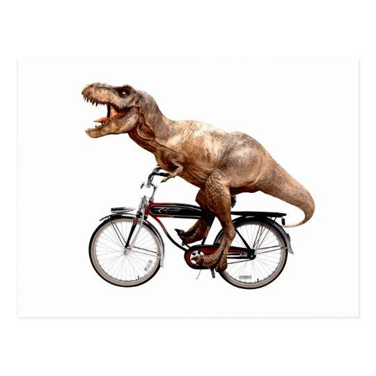 Trex riding bike postcard