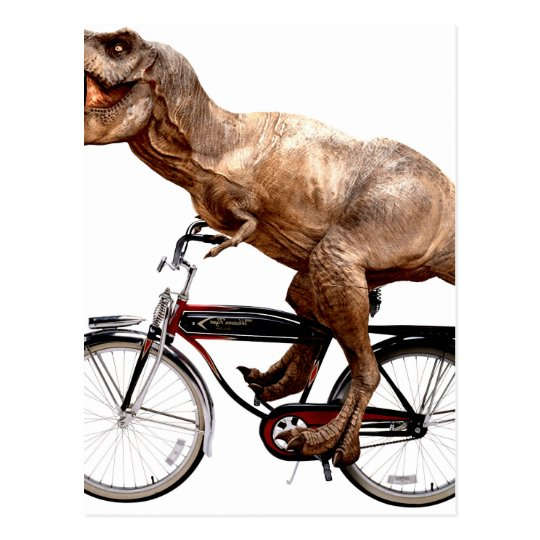 Trex riding bike postcard