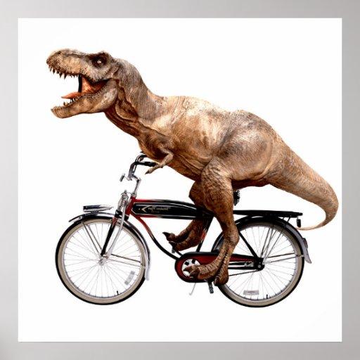 Trex riding bike poster