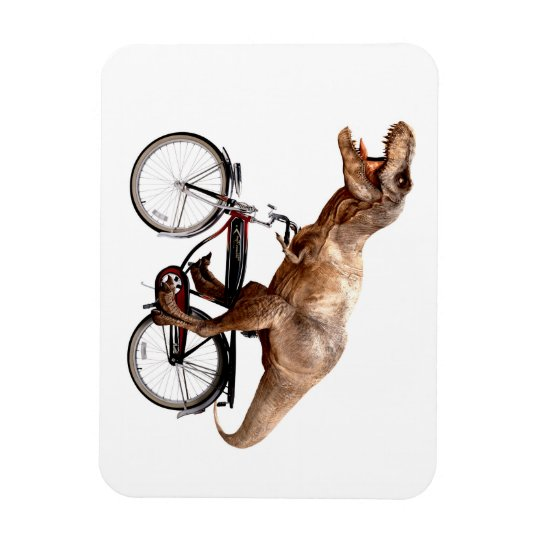 Trex riding bike rectangular photo magnet