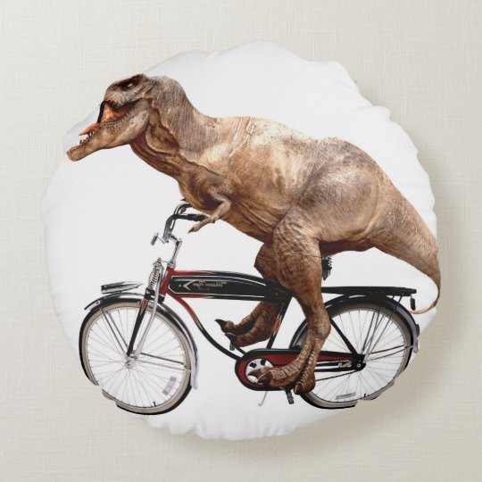 Trex riding bike round pillow