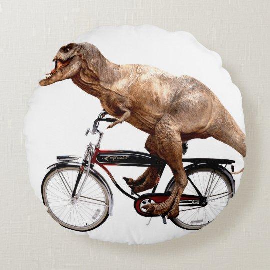 Trex riding bike round pillow