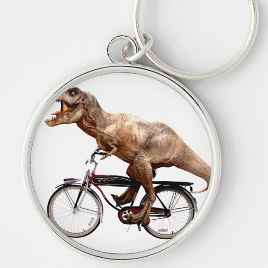 Trex riding bike Silver-Colored round keychain