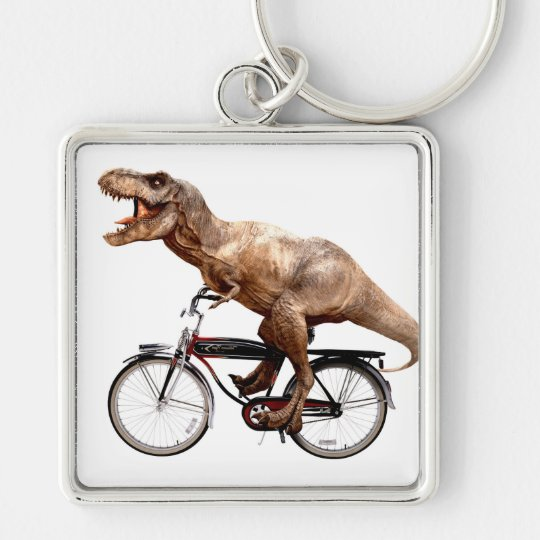 Trex riding bike Silver-Colored square keychain