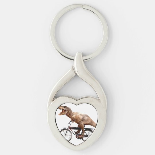 Trex riding bike Silver-Colored twisted heart keychain