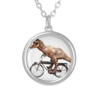 Trex riding bike silver plated necklace