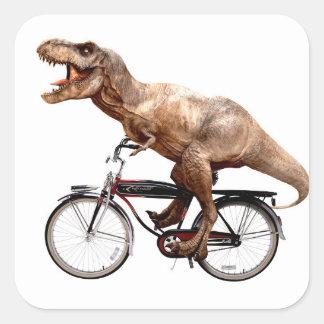 Trex riding bike square sticker