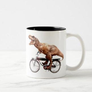Trex riding bike Two-Tone coffee mug