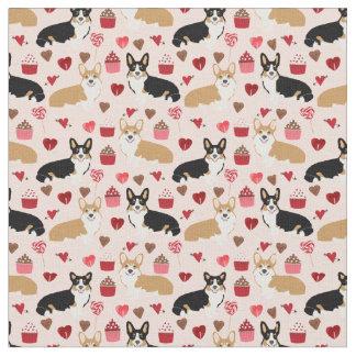 Tri and Red Corgi Valentines Fabric  - pink