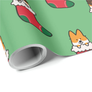 Tri-Color and Red Corgi Stocking Wrapping Paper