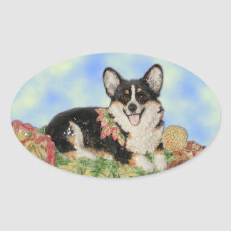 Tri-color Corgi in Fall Foliage Stickers
