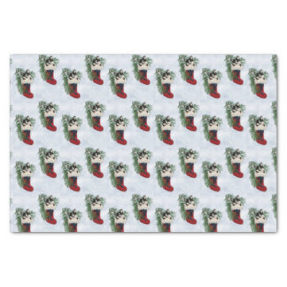 Tri-color Corgi in Stocking Tissue Paper