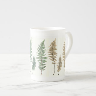 Tri-Color Fern Panels Botanical Bone China Mug