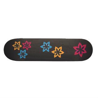Tri Color Flowers Skateboard