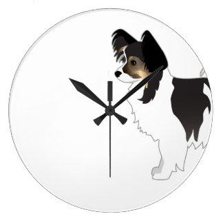 Tri-color Papillon Toy Dog Breed Illustration Large Clock
