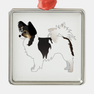 Tri-color Papillon Toy Dog Breed Illustration Metal Ornament