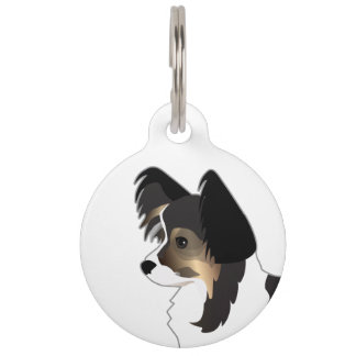 Tri-color Papillon Toy Dog Breed Illustration Pet Name Tag