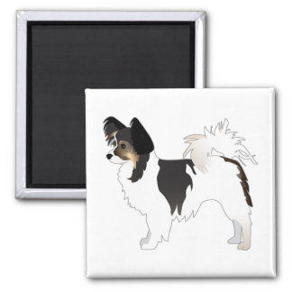 Tri-color Papillon Toy Dog Breed Illustration Square Magnet