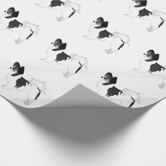 Tri-color Papillon Toy Dog Breed Illustration Wrapping Paper
