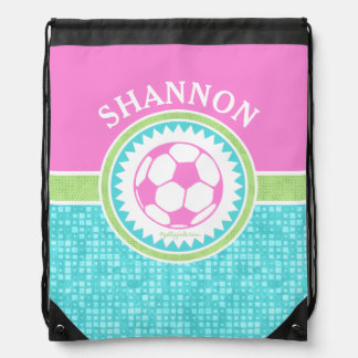 Tri-Color Pastel Soccer With Aqua Tiles Drawstring Bag