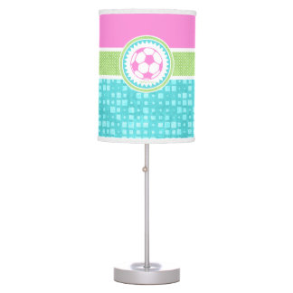 Tri-Color Pastel Soccer With Aqua Tiles Table Lamp