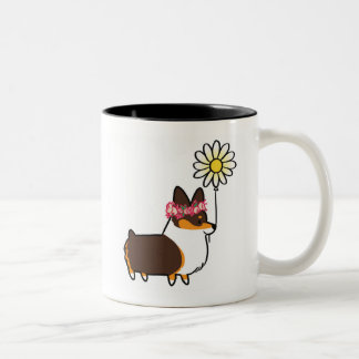 Tri-Color Pembroke Corgi Flower Mug | CorgiThings
