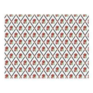 Tri Color Roses Wallpaper Pattern Postcard