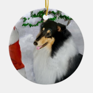 Tri Color Rough Collie Christmas Gifts Ornament