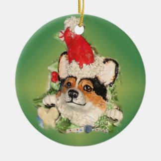 Tri-Color Santa Corgi Ornament
