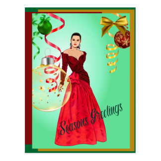 Tri Color Seasons Greetings With Woman in Red Gown Postcard