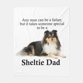 Tri-Color Sheltie Dad Fleece Blanket