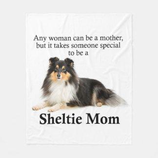 Tri-Color Sheltie Mom Fleece Blanket