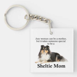 Tri-Color Sheltie Mom Keychain
