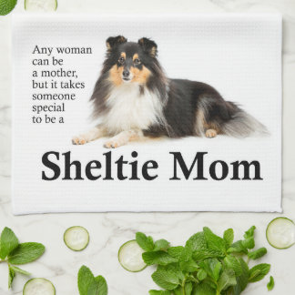 Tri-Color Sheltie Mom Kitchen Towel