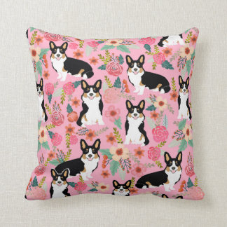 Tri Colored Corgi Floral pillow - cute corgi gift