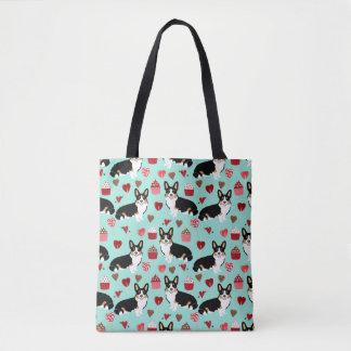 Tri Corgi Valentines dog design - mint Tote Bag