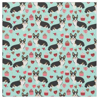 Tri Corgi Valentines Fabric -  mint