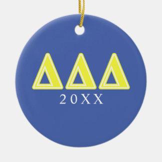 Tri Delta Yellow Letters Ceramic Ornament