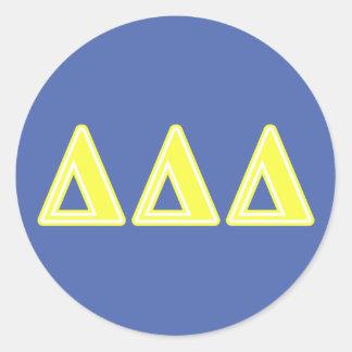 Tri Delta Yellow Letters Classic Round Sticker
