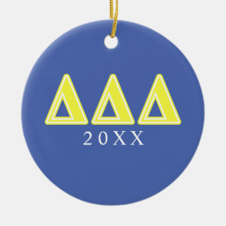 Tri Delta Yellow Letters Round Ceramic Ornament