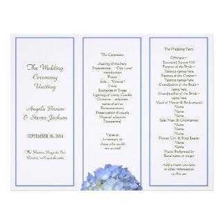 Tri-fold, Blue Hydrangea Wedding Program