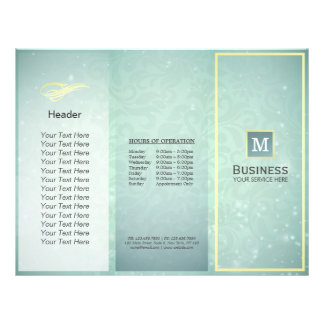 Tri-Fold Gold Blue Monogram Modern Salon Brochures