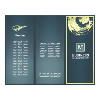 Tri-Fold Gold Blue Monogram Yoga Massage Brochures