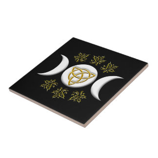 Tri-Moon & Tri-Quatra, With Holly - Tile/Trivet #2 Ceramic Tiles