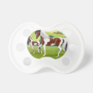 Tri Paint Horse with Foal Baby Pacifier