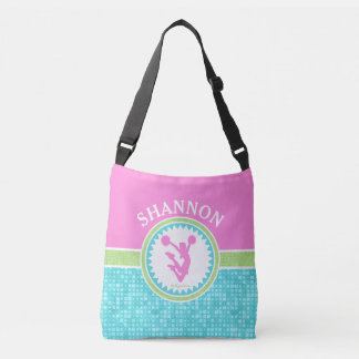 Tri-Pastel Color Cheerleading With Aqua Tile Crossbody Bag